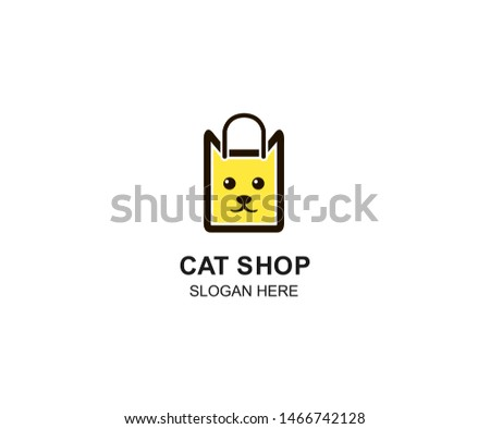 Pet Shop logo design template. Modern animal icon labels for shops and bags, veterinary clinics, hospitals, residences, business services. Flat illustration background with cat head