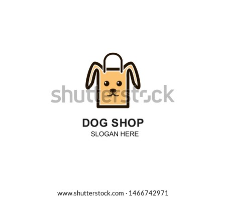 Pet Shop logo design template. Modern animal icon labels for shops and bags, veterinary clinics, hospitals, residences, business services. Flat illustration background with dog head