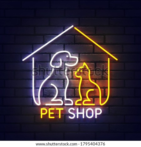 Pet shop neon sign. Glowing neon light signboard of dog and cat pet house. Sign of pet shop with colorful neon lights isolated on brick wall. Vector illustration Сток-фото ©