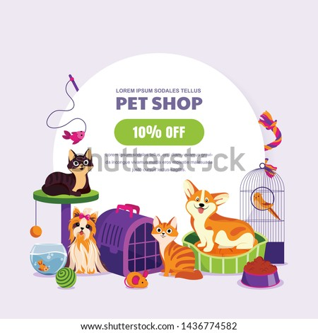 Pet shop poster or banner design template. Vector cartoon illustration of cats, dogs, aquarium fish and canary. Animal food, accessories and toys store. Discount or sale coupon concept.