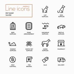 Pet Shop - set of modern vector plain simple thin line design icons and pictograms. Cat, dog, bird, aquarium, reptile, rodent, exotic, horse supplies, pond, pharmacy, brands, pest control delivery