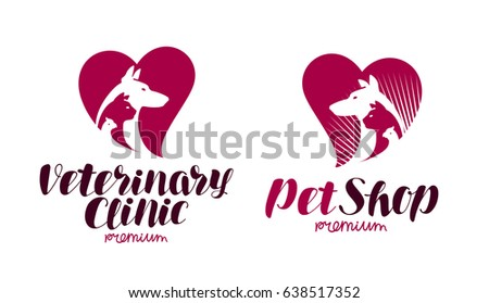 Pet shop, veterinary clinic logo. Animals, dog, cat, parrot icon or symbol. Label vector illustration
