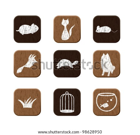 Pet shop wooden icons set with pets silhouettes. vector illustration eps8 - stock vector