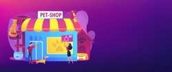 Pet store, dog care. Animal products. People shopping for their pets. Animals shop, best animals supplies, pet goods e-shop concept. Header or footer banner template with copy space.