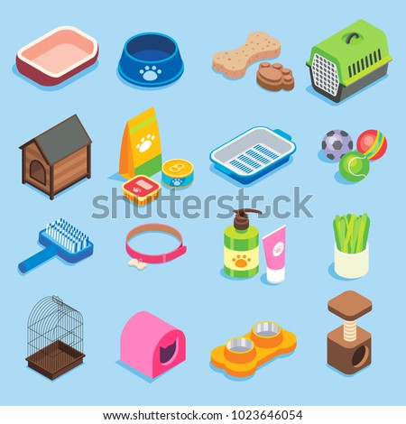 Pet store icon set. Vector flat isometric illustration of pet food supplies and treats, toys, collar, bedding accessories, kennels, pet carries, grooming kits, cat litter box, bowl and scratching post