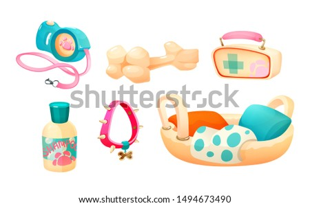 Pet supplies. Pet accessories: shampoo, basket, bone, leash-collar, first-aid kit, dog collar. Petshop supermarket vector cartoon illustration