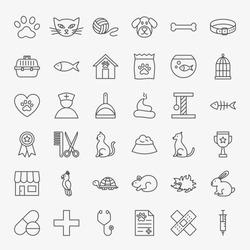 Pet Vet Line Icons Set. Vector Thin Outline Animal Doctor Symbols.