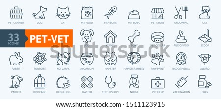 Pet, vet, pet shop, types of pets - minimal thin line web icon set. Outline icons collection. Simple vector illustration.