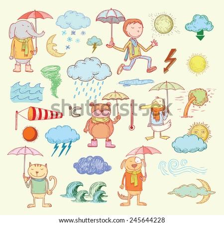 pet weather elements  vector