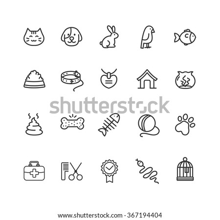 Pet Web Outline Icon Set. Vector illustration