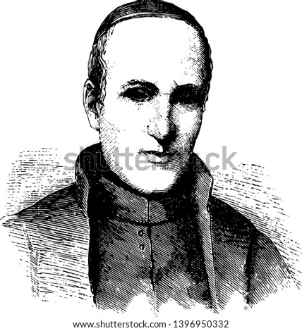Peter Jan Beckx 1795 to 1887 he was a Belgian Jesuit priest and twenty to second superior to general of the society of Jesus vintage line drawing or engraving illustration