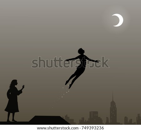 peter pan and wendy on the roof