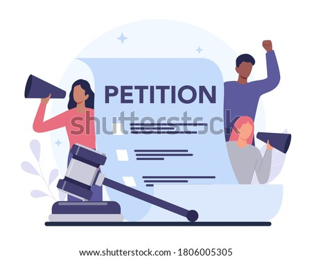 Petition concept. Collective public appeal document. Signing and spreading petition for changes. Document addressed to a government. Isolated flat vector illustration