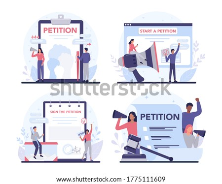 Petition concept set. Collective public appeal document. Signing and spreading petition for changes. Document addressed to a government. Isolated flat vector illustration
