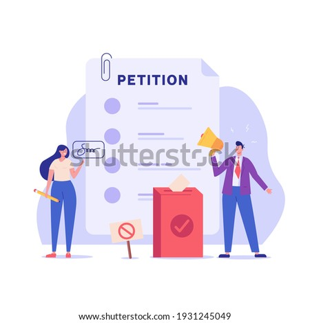 Petition form. People signing and spreading petition or complaint. Concept of Online petition, making choice, balloting Paper, democracy. Vector illustration for Web Design and Background Photo stock ©