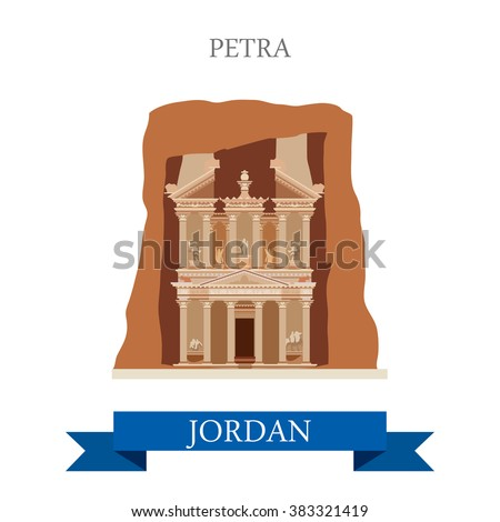 Petra in Jordan. Flat cartoon style historic sight showplace attraction web site vector illustration. World countries cities vacation travel sightseeing Asia collection.