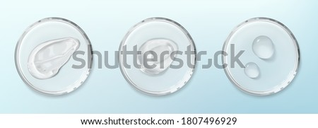 Petri dishes with cosmetic smudge and drops isolated realistic vector illustration on blue background. Concept of laboratory science. Transparent smears aloe vera gel and spots of serum