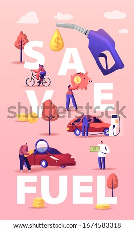 Petrol Economy Concept. Characters Refueling Car on Station, Pumping Gasoline Oil. Filling Gas or Biodiesel, Automotive Industry. People Save Fuel Poster Banner Flyer. Cartoon Vector Illustration Сток-фото ©
