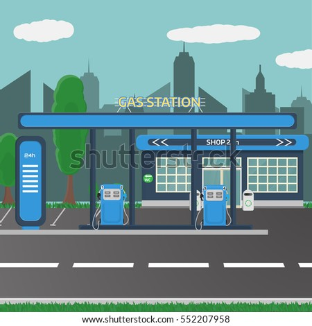 petrol gas station concept in
