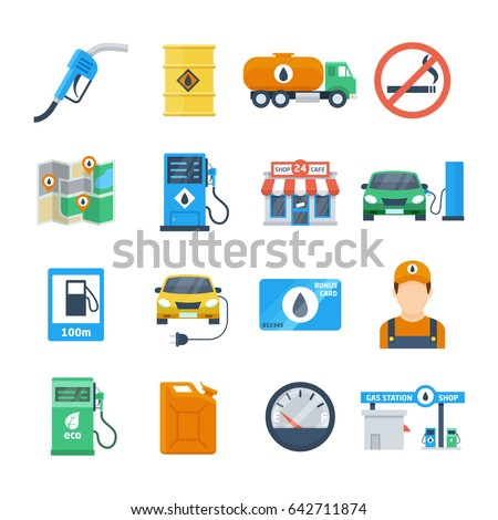 Petrol station icons in a flat style. Attributes of a gas station of a column, a canister, a petrol pump, a worker, a cafe. Isolated vector illustration.