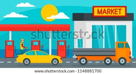 Petrol station with market background. Flat illustration of petrol station with market vector background for web design