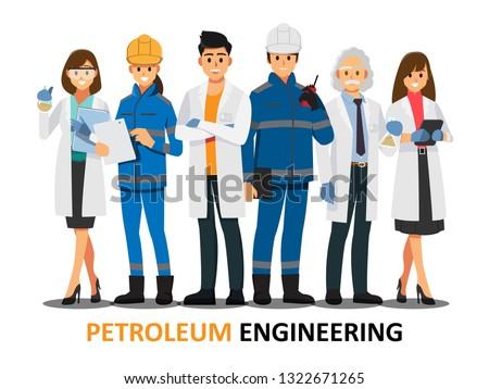 petroleum engineering teamwork ,Vector illustration cartoon character.