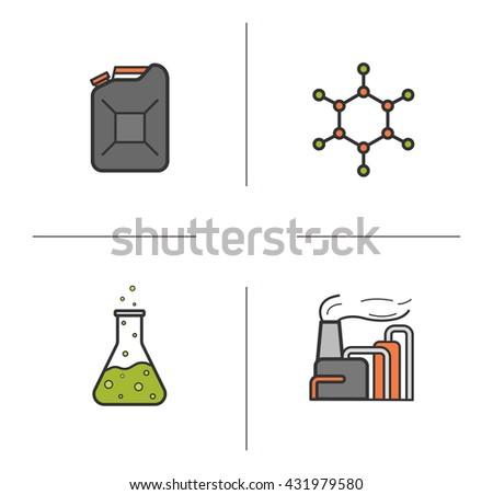 Petroleum industry color icons set. Gasoline canister, molecular structure, chemical reaction and factory. Industrial pollution. Vector isolated illustrations