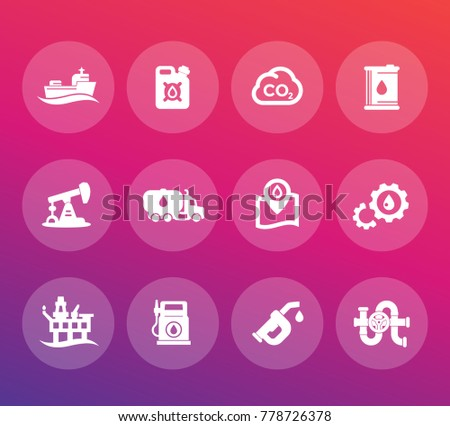 Petroleum industry icons set, gas station, petrol canister, gasoline nozzle, derrick, barrel, oil production platform, rig