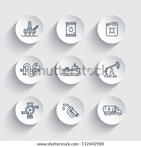 Petroleum industry line icons, gasoline nozzle, barrel, oil and gas production platform, petrol canister, rig, derrick, tanker ship, vector illustration
