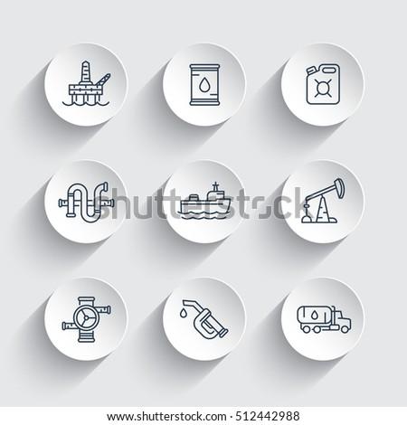 Petroleum industry line icons, gasoline nozzle, barrel, oil and gas production platform, petrol canister, rig, derrick, tanker ship, vector illustration