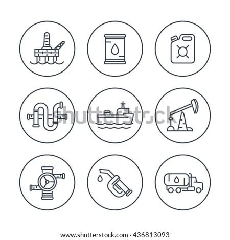 Petroleum industry line icons, oil rig, derrick, pipeline, barrel, drilling platform, oil tanker, petrol can, vector illustration