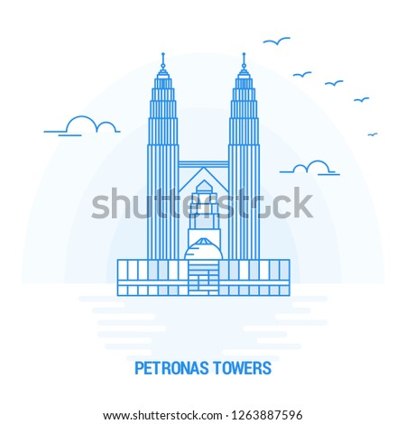 PETRONAS TOWERS Blue Landmark. Creative background and Poster Template