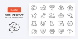 Pets and veterinary thin line icon set. Outline symbol collection. Editable vector stroke. 256x256 Pixel Perfect scalable to 128px, 64px...