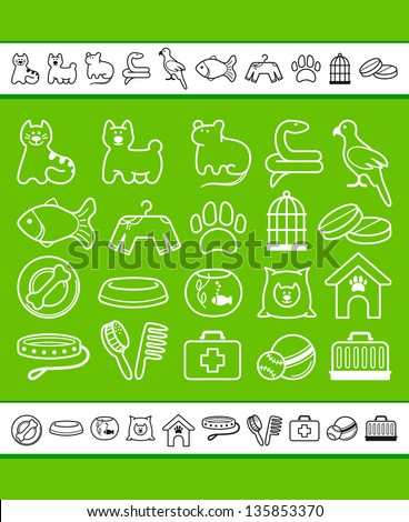 Pets care icon set