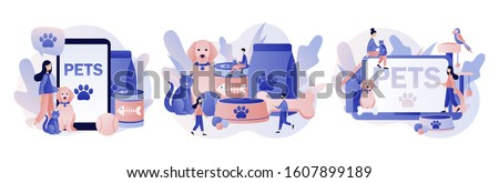 Pets care. Pet shop. Tiny people and Pets Concept. Modern flat cartoon style. Vector illustration on white background