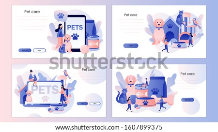 Pets care. Pet shop. Tiny people and Pets Concept. Screen template for mobile smart phone, landing page, template, ui, web, mobile app, poster, banner, flyer. Modern flat cartoon style. Vector