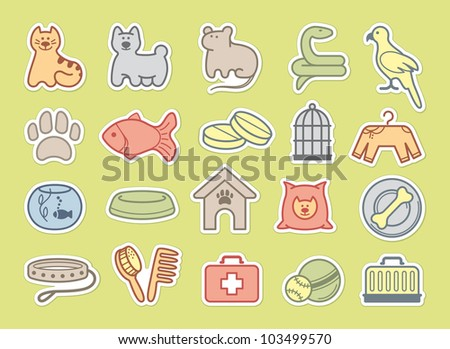 Pets care stickers - stock vector