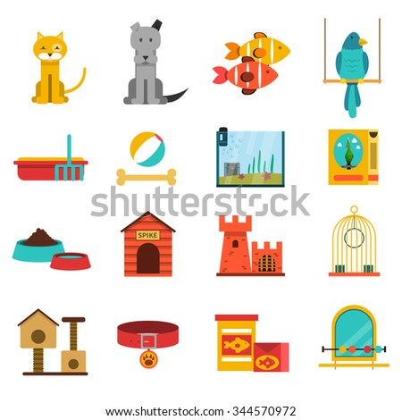 pets flat icons set with cat