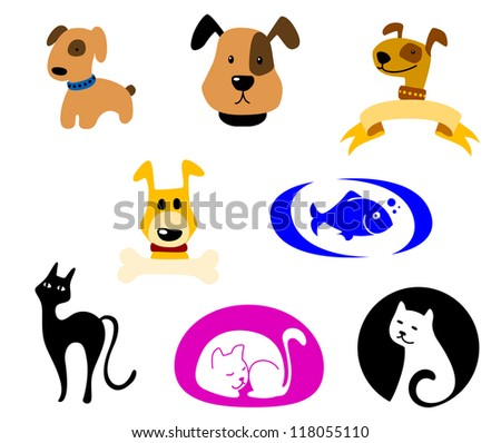 Pets icons and symbols logo set. Vector illustration