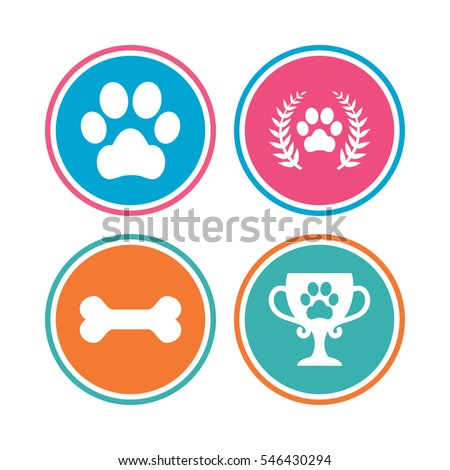 pets icons dog paw sign