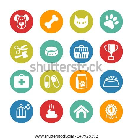 Pets icons set. Veterinary emblems, veterinary pharmacy