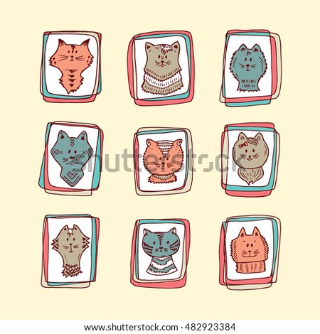 pets kittens faces icons hand