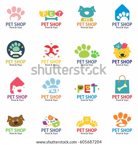 Pets shop logo, labels and symbols set. Signs, stickers and stamps collection for pet store. Isolated on white background. Vector illustration