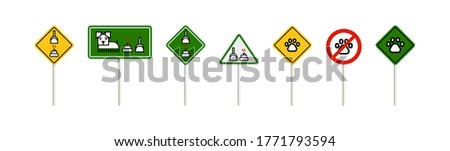 Pets signs set. Please clean up after your pet. Pet friendly sign. Isolated on white background. No pets allowed