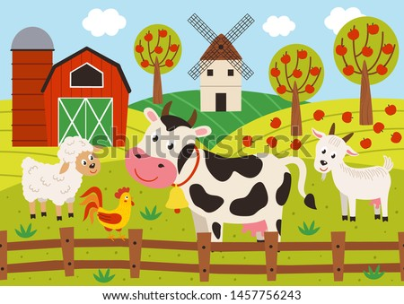 pets stand in the barnyard