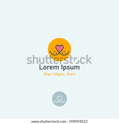 Pets vector logo template. Nose in form of heart and smile. Vector illustration.
