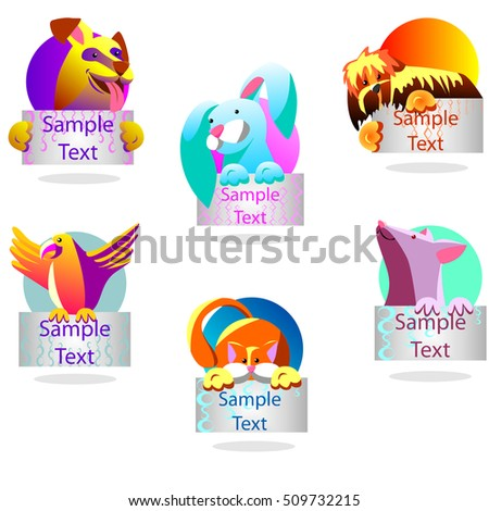 Pets with banners. It can be used as icons. Shown dog, parrot, cat, mouse, rabbit.
