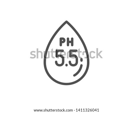 Ph neutral line icon. Clinically tested sign. Water drop symbol. Quality design element. Linear style ph neutral icon. Editable stroke. Vector