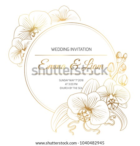 Phalaenopsis orchid flowers border frame decoration. Wedding marriage event invitation template. Modern luxury bright shiny golden gradient. Title text placeholder. Vector design illustration.
