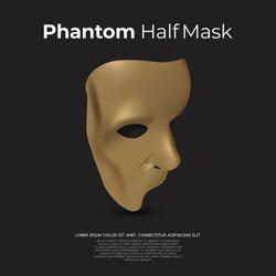 Phantom half mask logo design vector and icon illustration inspiration. Carnival and helloween costume